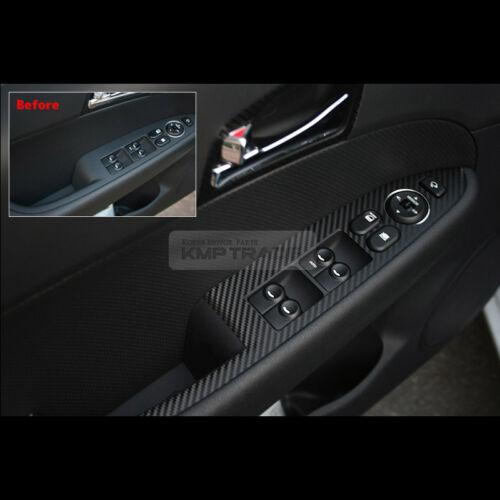Interior Window Switch Carbon Black Decal Sticker 4Pcs For HYUNDAI 2008-2012 i30