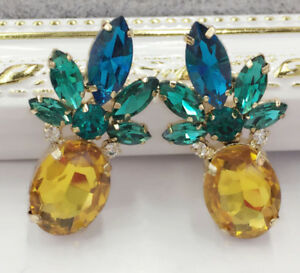 Hot-Crystal-Ear-Drop-Dangle-Stud-Ancient-Gold-long-Tassels-Pineapple-Earrings