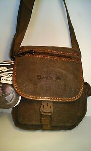New-Ariana-Strong-Woven-Canvas-Manbag-Shoulder-Bag-Zipped-Clip-Flap-Green-Brown