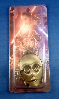 NEW COLLECTIBLE STAR WARS C3PO droid face Metal Key Ring keychain gold//brass NIP
