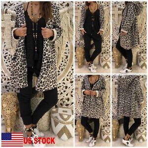 Women-039-s-Leopard-Hooded-Long-Coat-Cardigan-Loose-Outwear-Kimono-Jacket-Sweatshirt