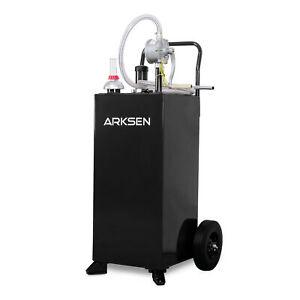 30-Gallon-Gas-Caddy-Tank-Storage-Drum-Gas-Diesel-Fuel-Transfer-Wired-Hose-Black