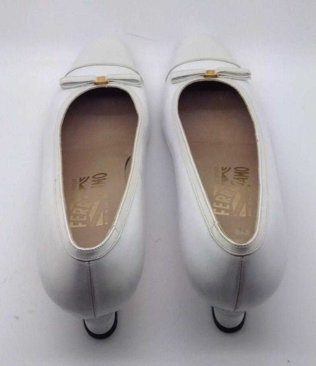 SALVATORE FERRAGAMO Cream White Leather gold Classic Classic Classic Vara Bow Ballet Flat 9 3A d73c06