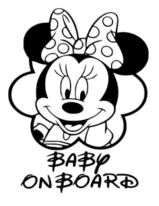 Image Is Loading Minnie Mouse Baby On Board Window Vinyl Sticker