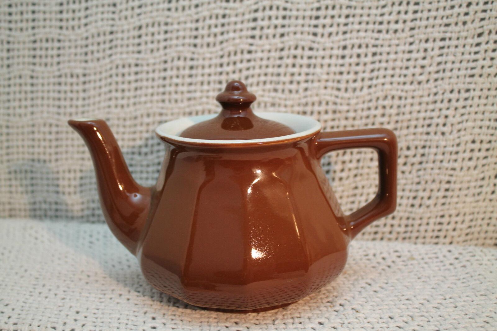 Céramique Vtg Ancienne Hall Théière Marron Chocolat Blanc Lourd Pottery Japonais