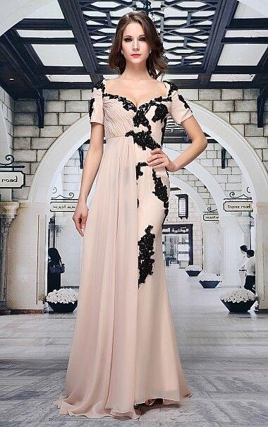 Abendkleid Ballkleid von Festamo in nude und schwarz, Gr. 34 36 38 38 40 42 44