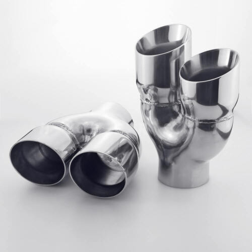"""Pair Dual Staggered 3.5/"""" Oulet Exhaust Tips 3/"""" inlet 9/"""" Long Dual Wall Stainless"""