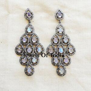 Natural Rose Cut Diamond Rainbow Moonstone & 925 Sterling Silver Earrings
