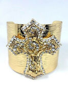 Gold Toned Cross Cuff Bracelet With Clear Rhinestones