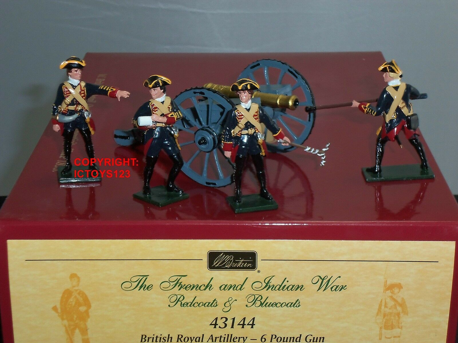 BRITAINS 43144 blueECOATS blueECOATS blueECOATS BRITISH ROYAL ARTILLERY 6LB GUN + CREW TOY SOLDIER SET 571946