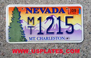 Real Nevada State License Plate Mt Charleston Graphic