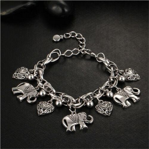 Femmes vintage bracelet éléphant cœur perle Pendentif Bracelets Fashion jewelrodus