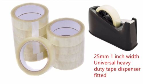 6X ROLLS CLEAR STRONG QUALITY PACKING MAILING SEALING TAPE SELLOTAPE 25MMX66M UK