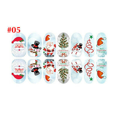Christmas Nail Art Stickers 3D Design Manicure Tips Decals Wraps Decorate DIY #C