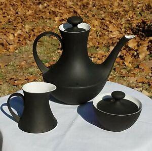VINTAGE-TEA-COFFEE-SET-ESPANA-NOCHE-BLOCK-BIDASOA-SPAIN-Cream-Sugar-Teapot
