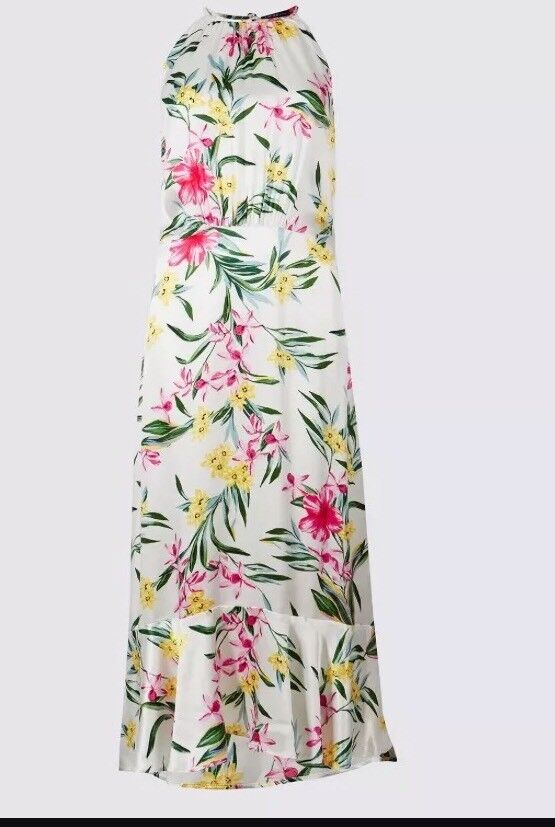 Marks&Spencer Limited Collection Silky Maxi Dress Floral Frill Hem X Small