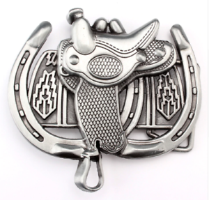 HORSE SHOES and SADDLE Belt Buckle western cowboy rancher horse