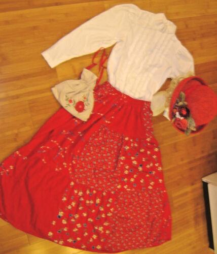 Prairie Western dress sz M white blouse red calic