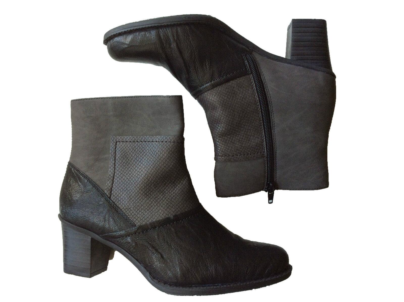 Rieker Stiefelette Stiefel Winter Damen Schuhe LEDER schwarz grau elegant 161177