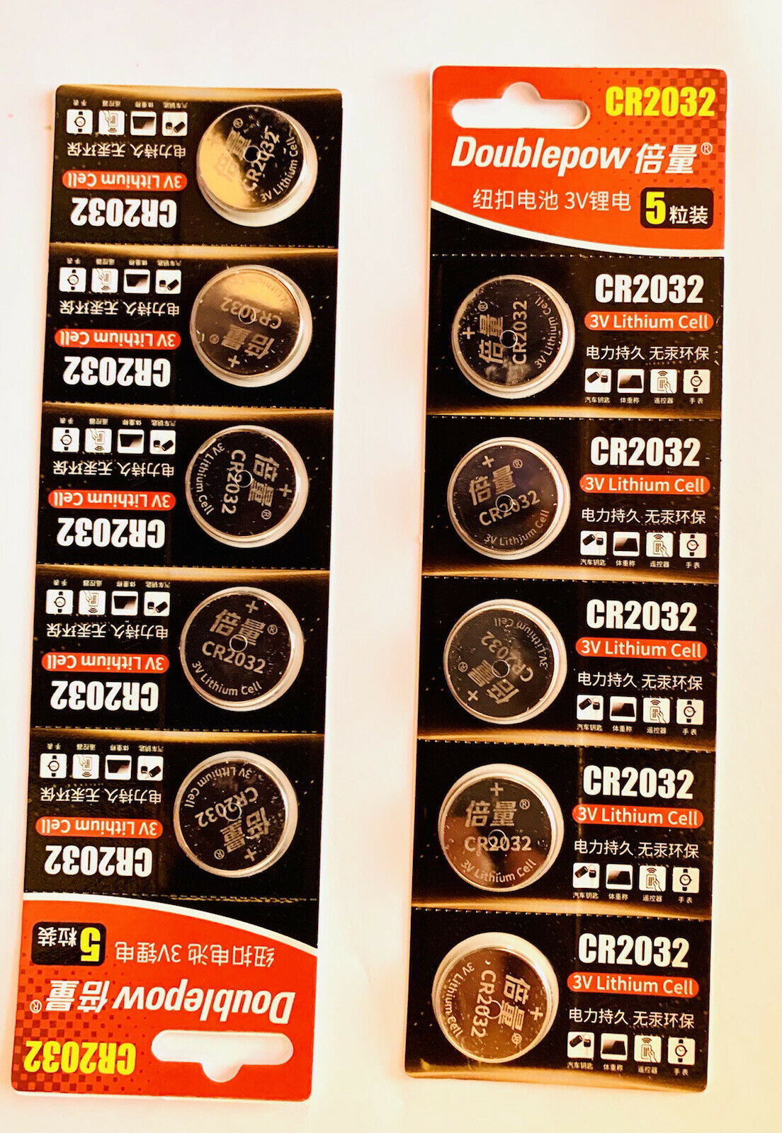 10 pieces Doublepow button battery 3v lithium battry CR2032