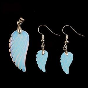 Angel Wings Rainbow Fire Moonstone Gemstone Silver Pendant Earrings Set 2 pc