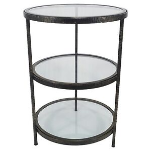 On sale threshold round two shelf metal glass accent for Round table 99