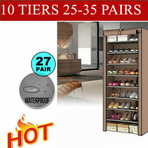 30-40-Pairs-10Tiers-Stackable-Shoe-Rack-Storage-Cabinet-Organiser-With-Cover