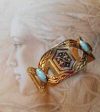 Superbe bracelet manchette ancien Art Deco plaqué or émail opale