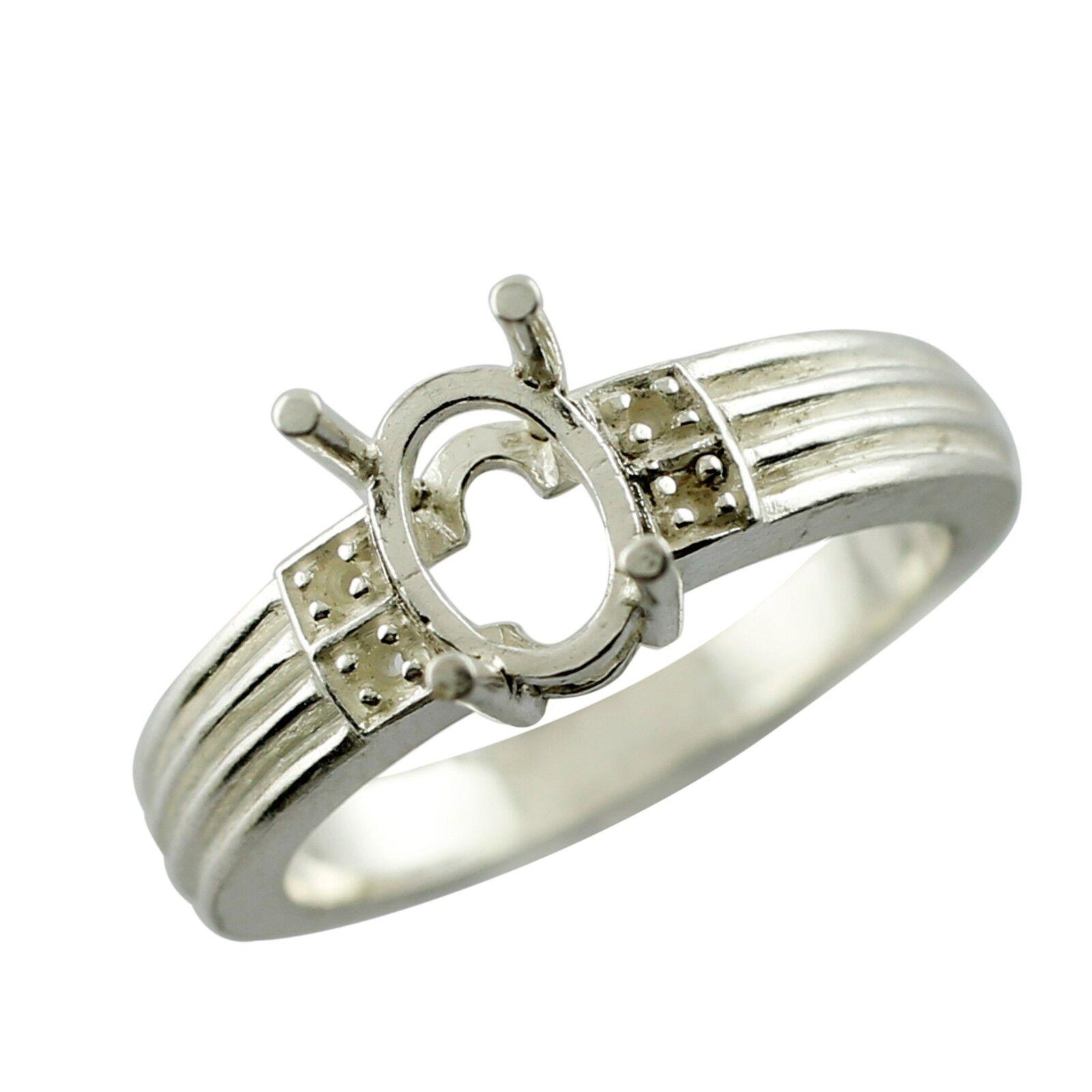 Semi Mount White gold Ring Wedding Anniversary Gift Eternity Exotic Lady Jewelry