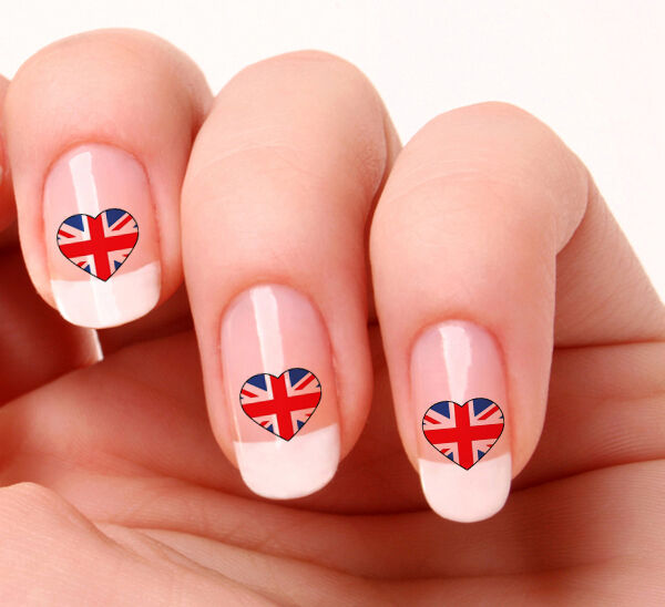 20 Nail Art Decals Transfers Stickers 249 England Flag Heart Ebay