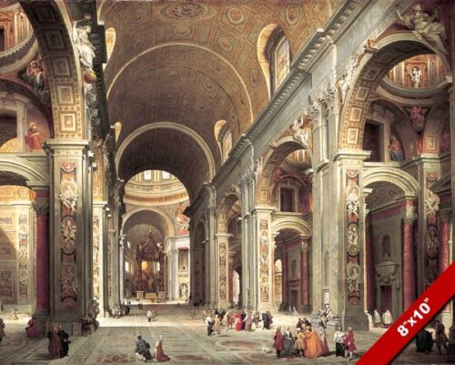THE VATICAN ST PETERS BASILICA INSIDE CATHOLIC PAINTING REAL CANVAS ART PRINT