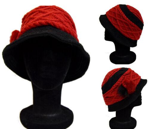 Chapeau Casquette français CREATION Bonnet en Laine Hiver Bonnet Paris fellpompom Rouge