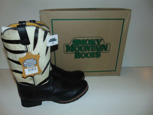Smoky Mountain White /& Black Zebra Leather Cowboy Boot Pony Hair YOU PICK SIZE *
