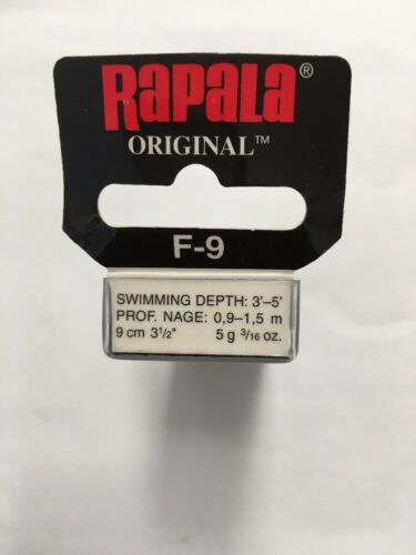 "Rapala F-9 Gold Original Floating Floater 3 1//2/"" Fishing Lure F09-G"