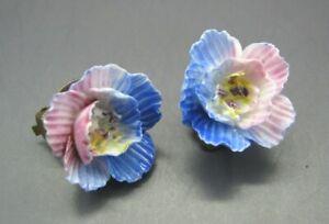 Vintage Porcelain Flower Earrings