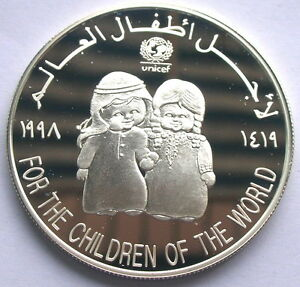 UAE-1998-Save-Children-50-Dirhams-Silver-Coin-Proof