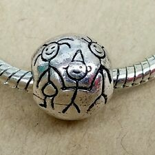 1P Antique Silver Stick Figure Family - Mom Dad Son - European Spacer Bead Charm