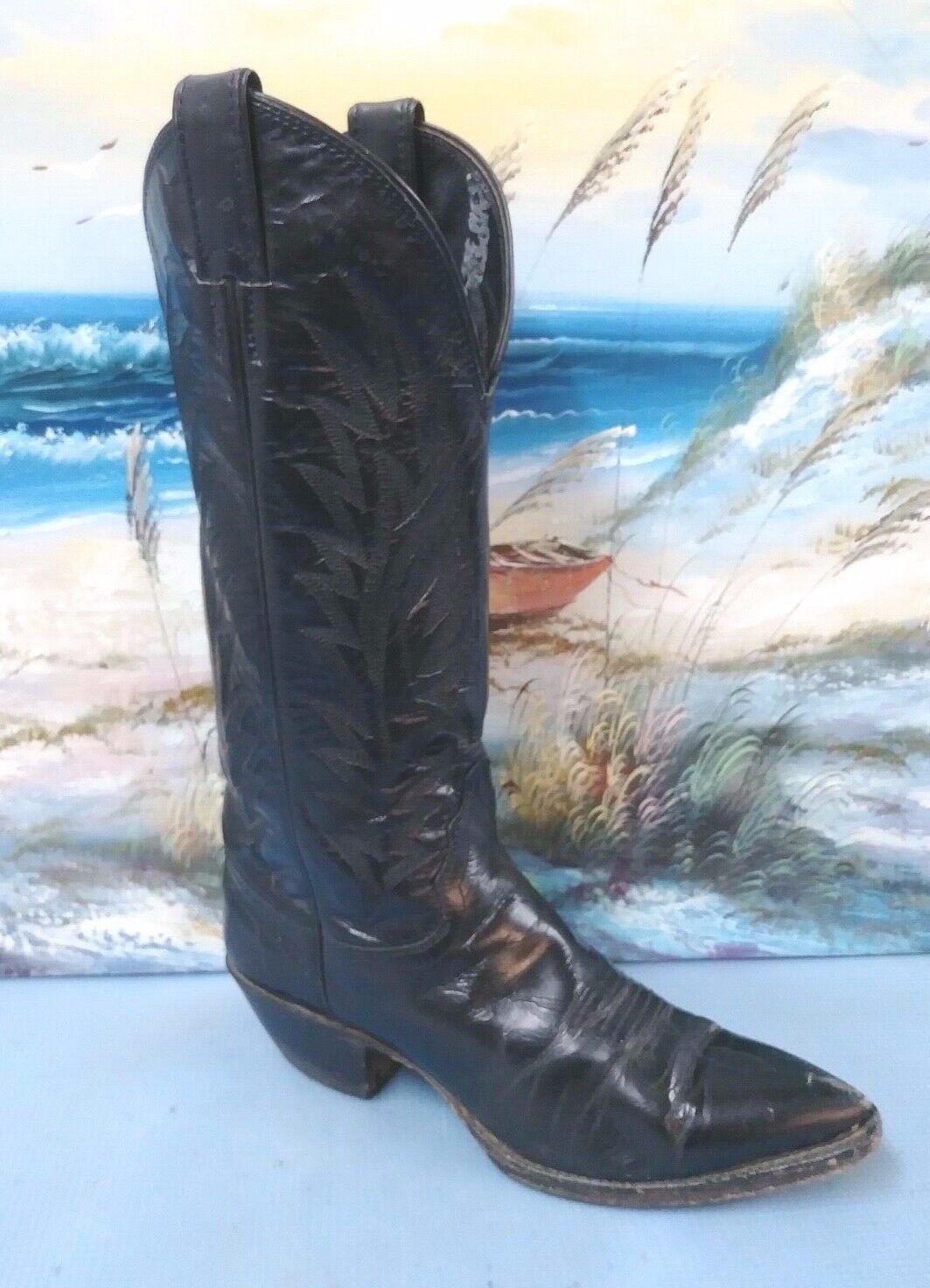 Para mujer auténticas Justin cuero negro botas de vaquero occidental 6.5 B