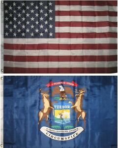 LOT OF 2 STATE OF MICHIGAN 3X5/' FLAGS NEW