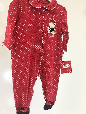 LITTLE ME 100/% Cotton Red Christmas Bear Footie w//Matching Hat GIRL SIZES  NWT