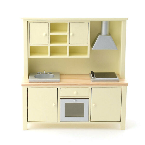 Dolls House 5172 Moderno Cucina All In One Crema 1:12 Alleviare Il Calore E La Sete.