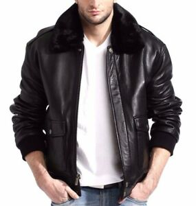 43a2721b23d Image is loading Mens-Black-Genuine-Lambskin-Leather-Pilot-Bomber-Jacket-