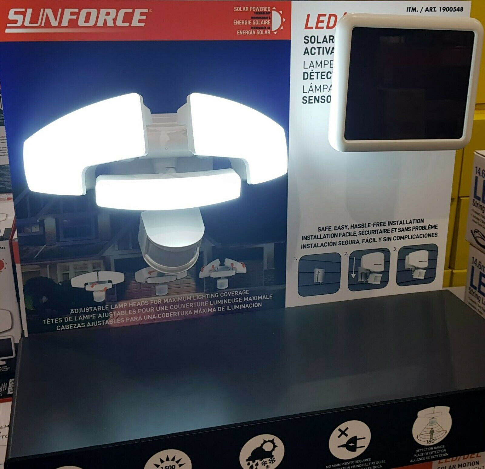 Sunforce Triple Sensor Solar de movimiento activada Solar LED Luz Brillante 1500 lúmenes