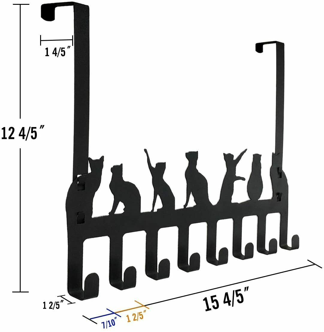 Hats 2Packs over the Door Double Hanger Hooks,HFHOME Metal Twin Hooks Organizer for Hanging Coats Robes Towels- Black