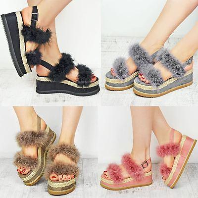 Womens Ladies Espadrille Flatform Faux Fur Wedge Sandal Summer Celeb Shoes Size   eBay