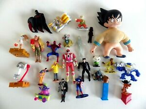 Lot-de-24-figurines-vintage-Dragon-ball-Marvel-Spider-man-Dc-Batman-power-ranger