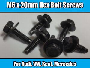 10x Boulons Pour Audi VW Seat Mercedes Hex Vis Anneau rondelle en métal noir M6 x 20 mm  </span>