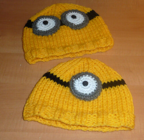 Hand Knit to Order; ONE or TWO EYES; ALL SIZES MINIONS HAT