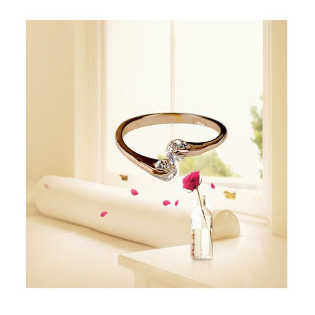 New Women Finger Ring 18K Gold GP Swarovski Crystal Engagement Rings Hot Style