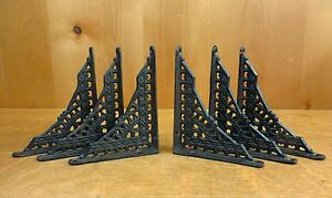 "6 SMALL BROWN ANTIQUE-STYLE 5"" SHELF BRACKETS CAST IRON garden rustic EASTLAKE"